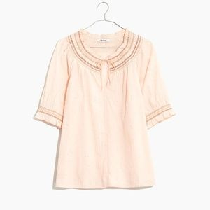 Madewell pink cotton smocked top XL